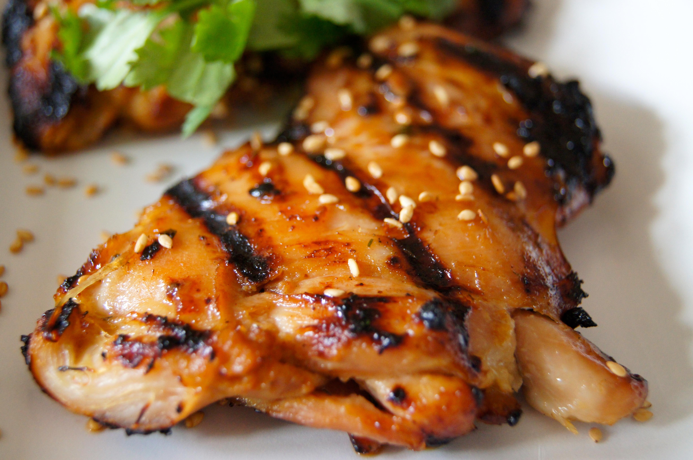 Grilled Asian Sesame Chicken Thighs Nourishedpeach