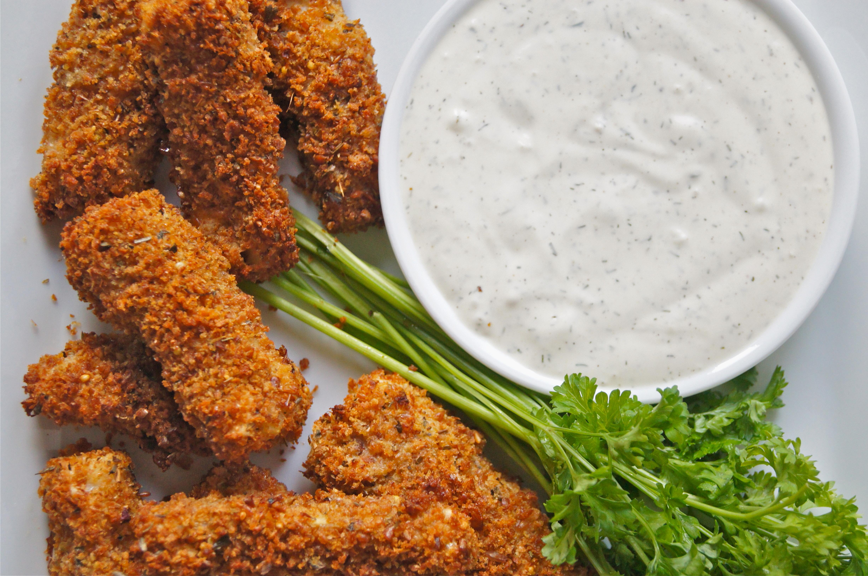 Crispy Oven Fish Sticks with Dill Yogurt Sauce | NourishedPeach